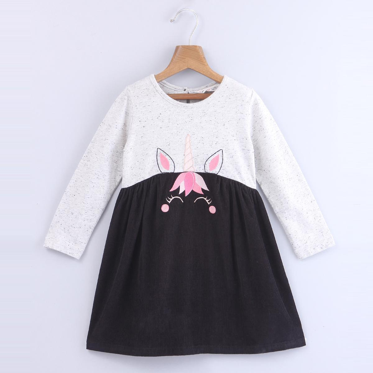 Beebay - Black Colored Unicorn Embroidery Mix-media Cotton Dress For Kids Girls