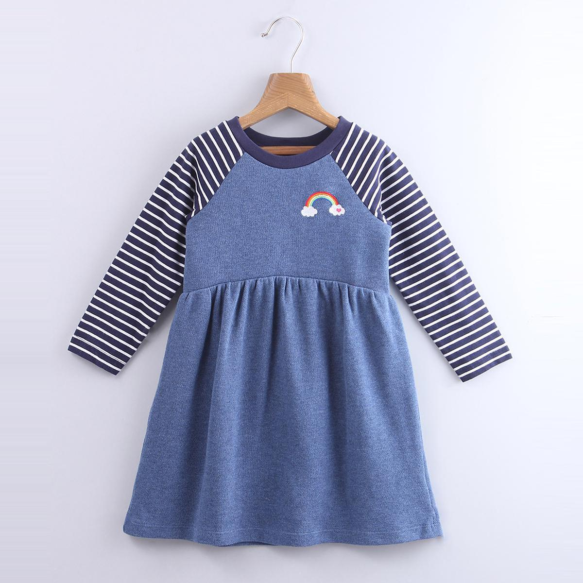 Beebay - Blue Colored Rainbow Embroidery Bodice Cotton Dress For Kids Girls