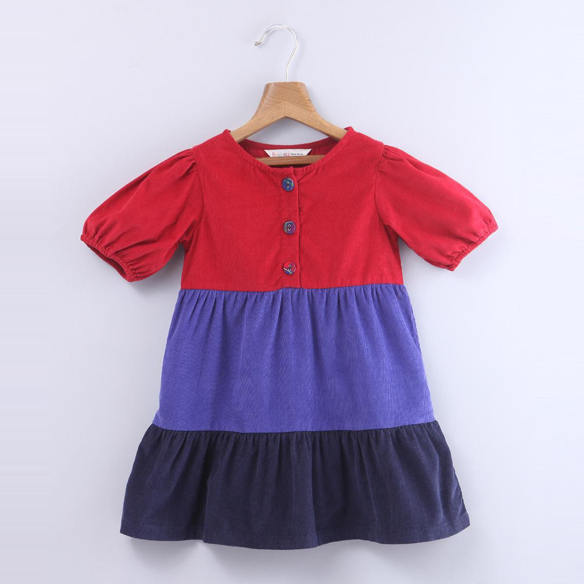 Beebay - Multi Colored Puff Sleeve Corduroy Tiered Cotton Dress For Kids Girls