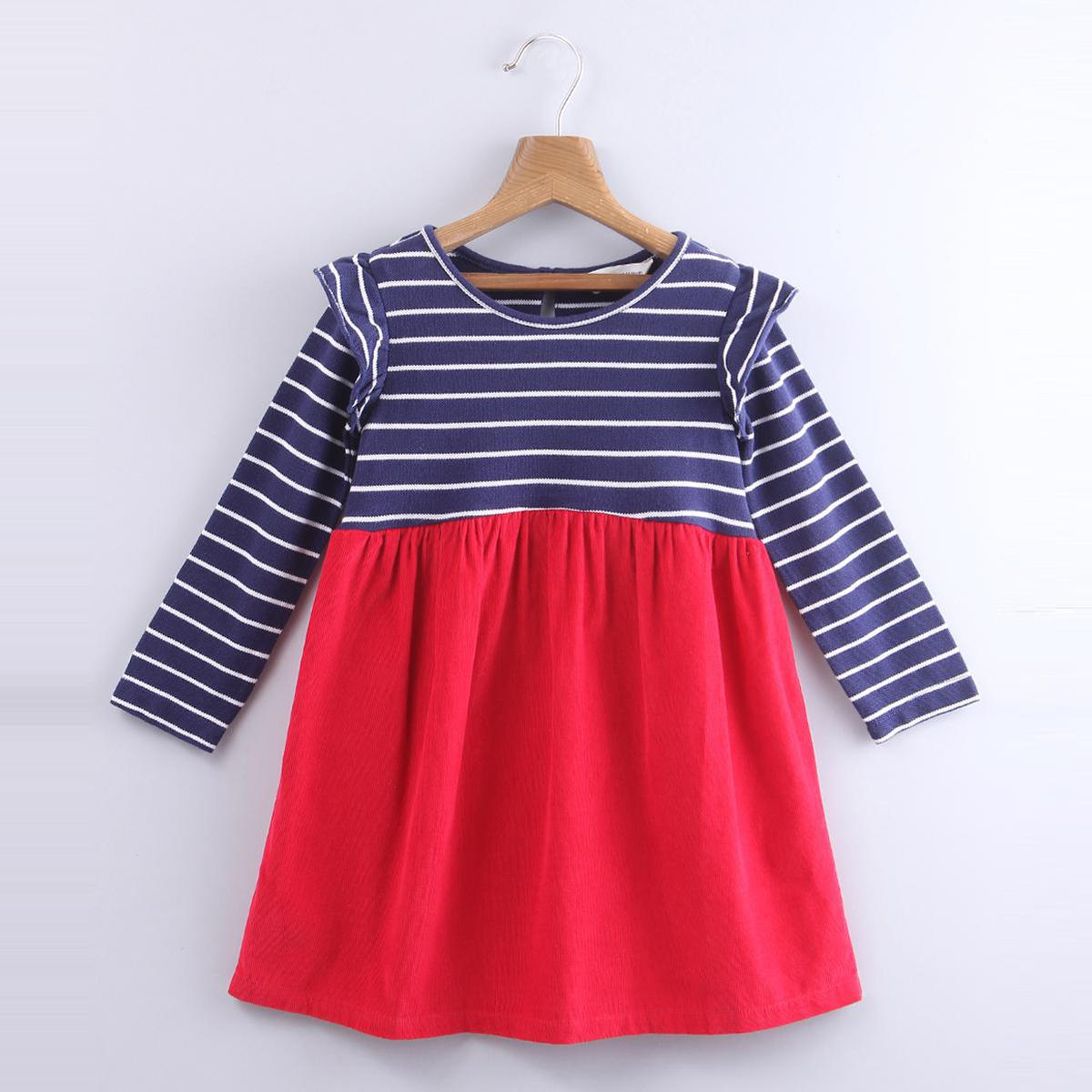 Beebay - Red Colored Stripe Mix-media Cotton Dress For Infants Girls