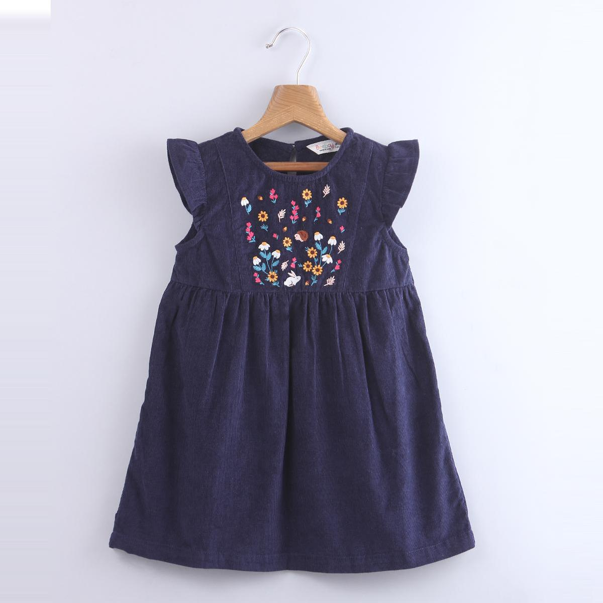 Beebay - Navy Blue Colored Floral Embroidered A-line Cotton Dress For Kids Girls
