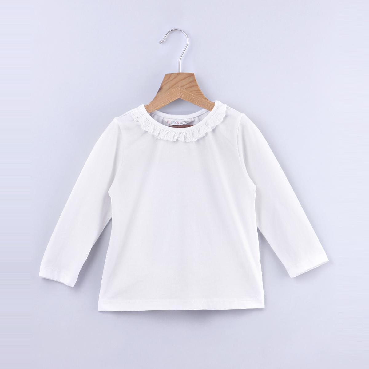 Beebay - Off White Colored Lace Frill Neck Cotton Top For Kids Girls