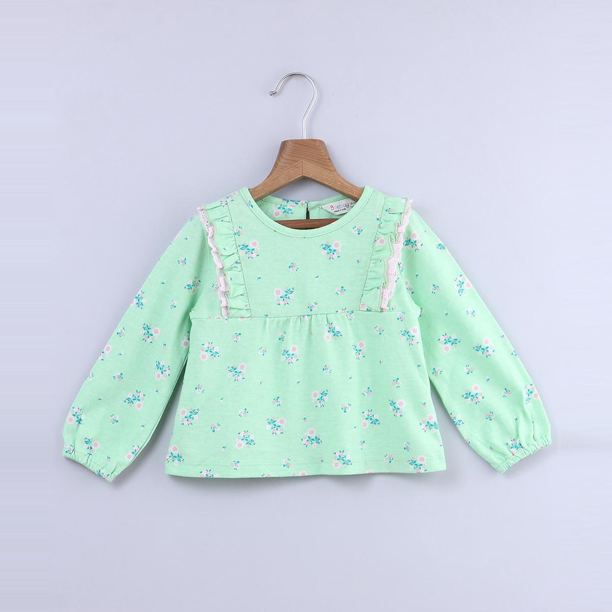 Beebay - Green Colored Ditsy Floral Frill Cotton Top For Infants Girls