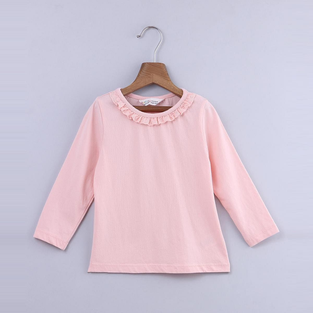 Beebay - Peach Colored Lace Frill Neck Cotton Top For Kids Girls