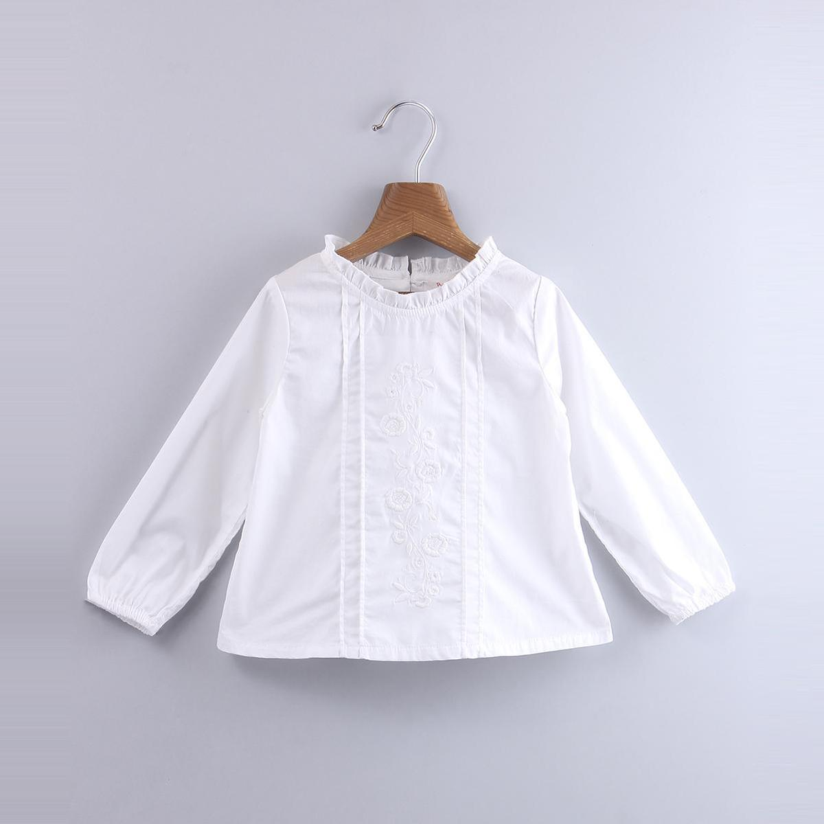 Beebay - White Colored Embroidered Ruffle Cotton Top For Infants Girls