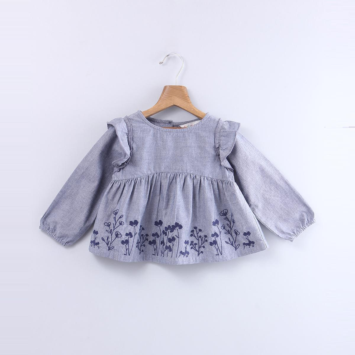 Beebay - Grey Colored Floral Embroidered Chambray Cotton Top For Kids Girls