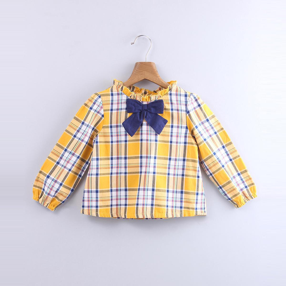 Beebay - Yellow Colored Y/D Check Bow Cotton Top For Infants Girls