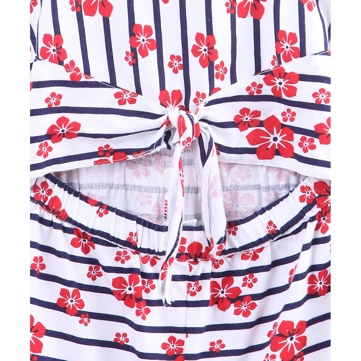 Beebay - White-Red Colored Striped Floral Waist Knot Cotton Jumpsuit For Kids Girls