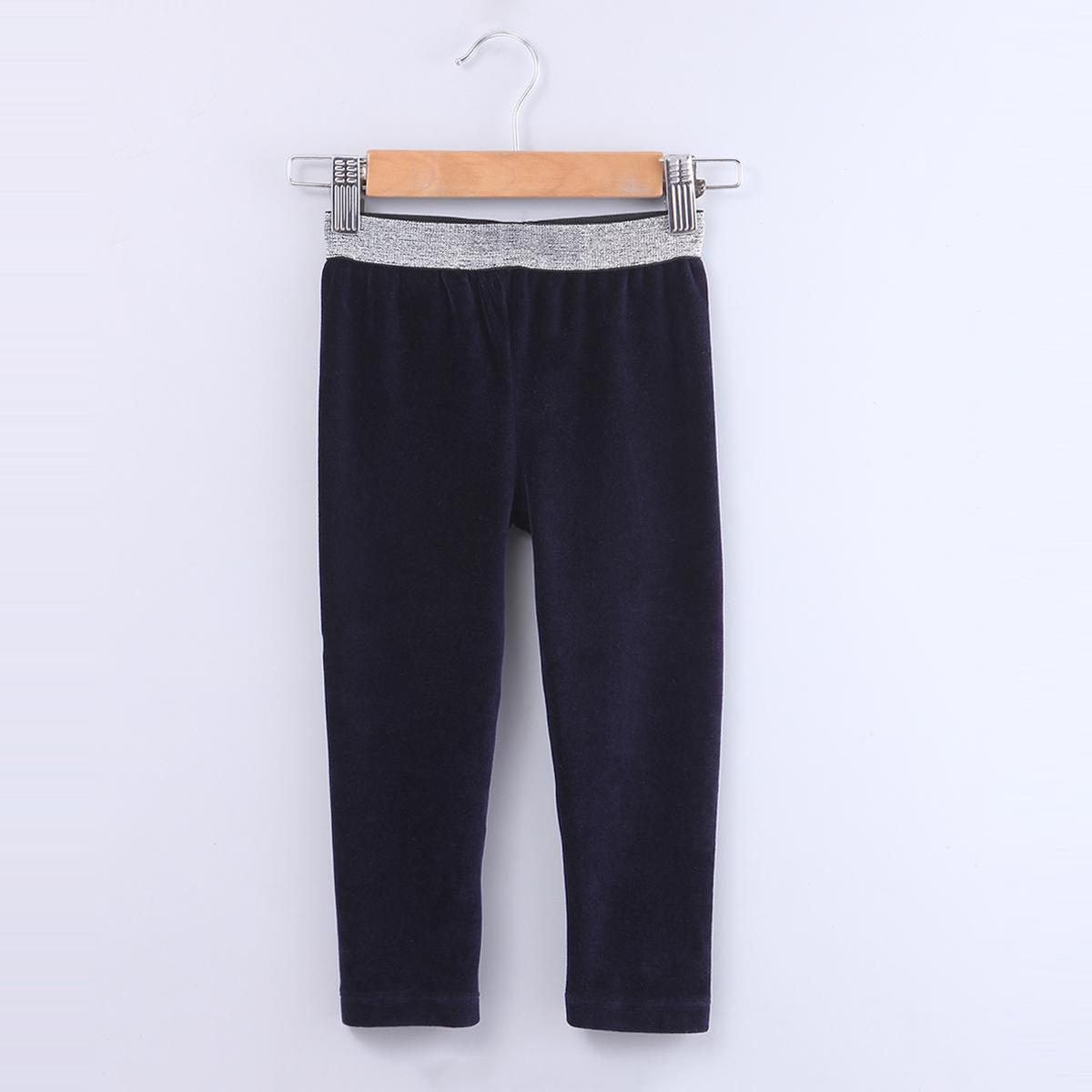 Beebay - Navy Blue Colored Lurex Waistband Velour Cotton Stretchable Legging For Kids Girls