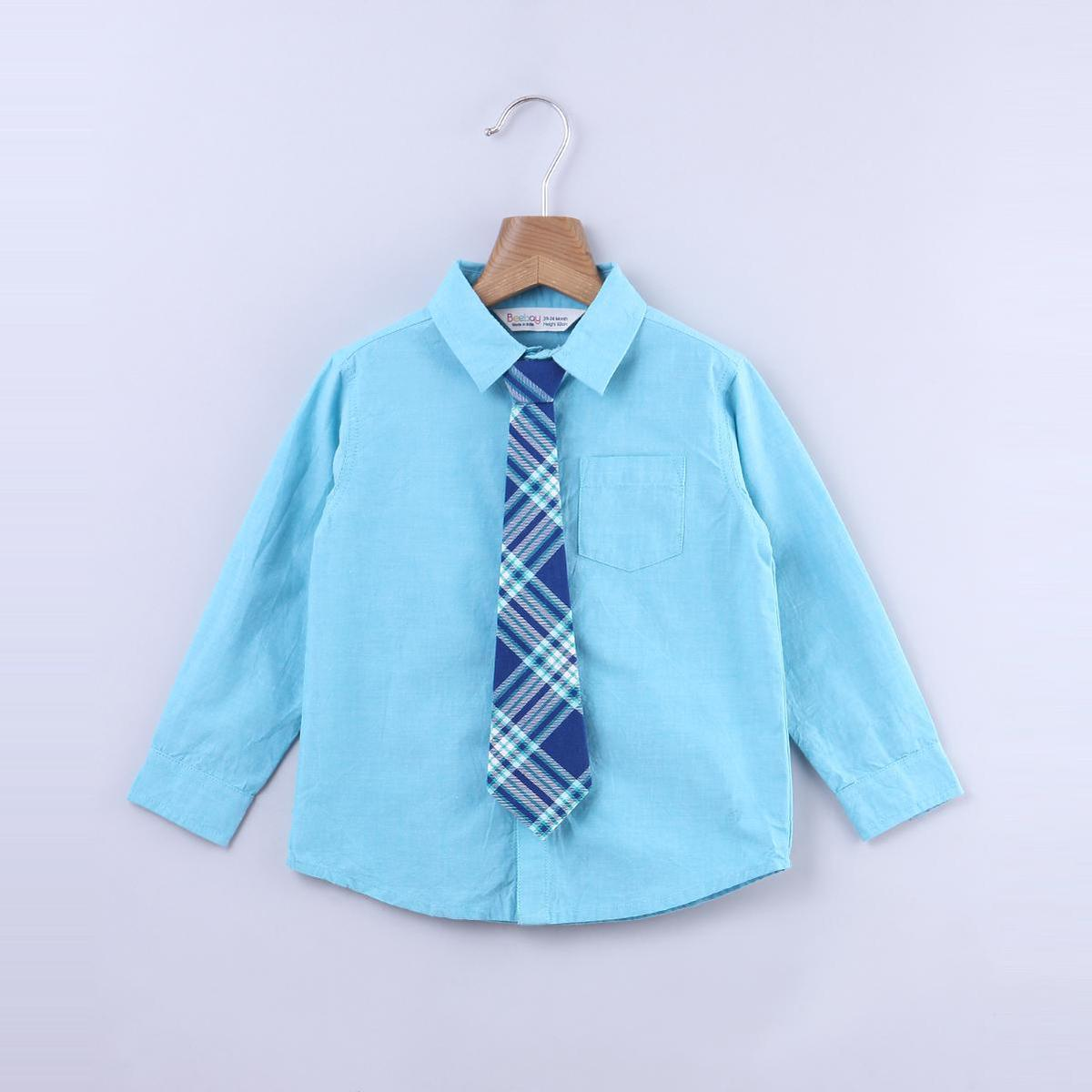 Beebay - Turquoise Blue Colored Chambray With Check Tie Cotton Shirt For Infants Boys