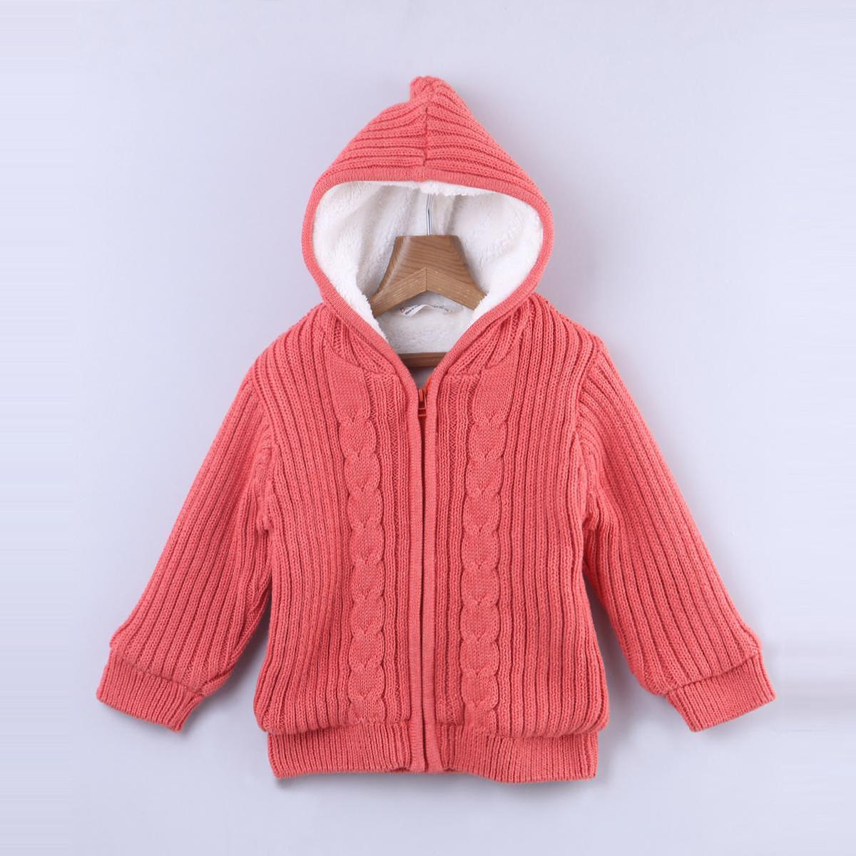 Beebay - Orange Colored Cable Cotton Sweater For Kids Boys
