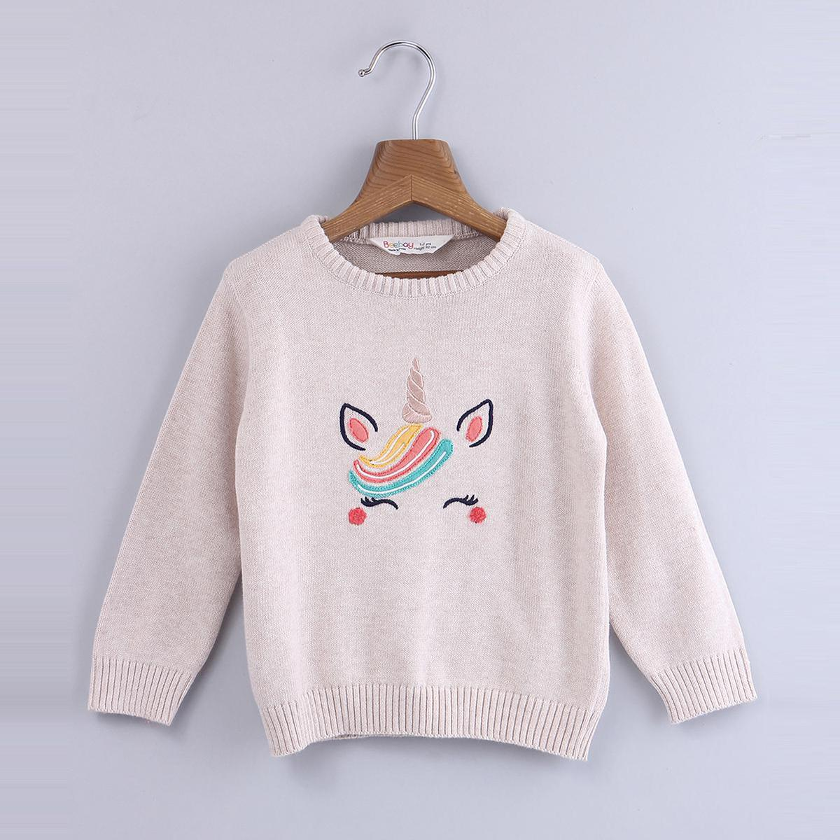Beebay - Beige Colored Unicorn Cotton Sweater For Infants Girls