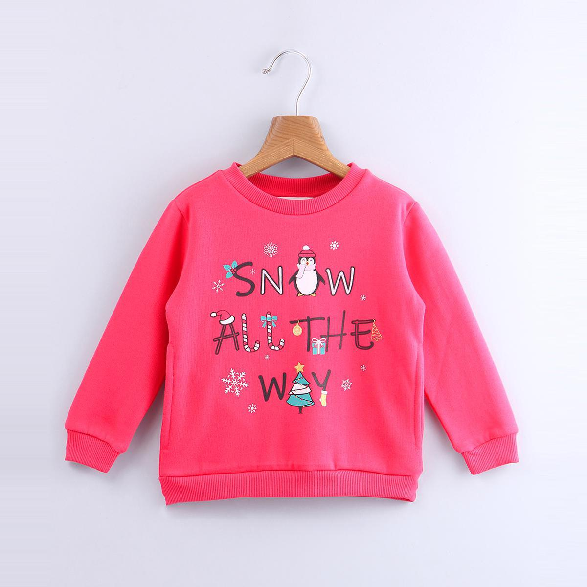 Beebay - Red Colored Snow All The Way Cotton Sweatshirt For Kids Girls