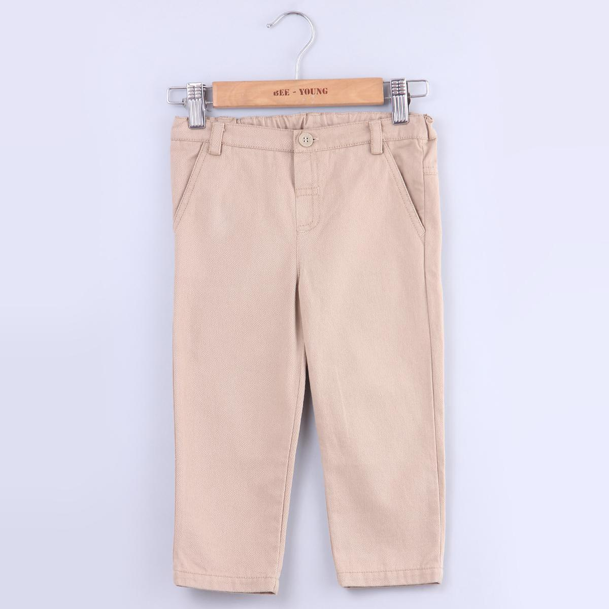 Beebay - Beige Colored Sand Beige Chino Cotton Stretchable Trousers For Infants Boys