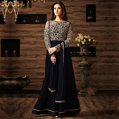 Mesmerising Black Designer Embroidered Anarkali Suit