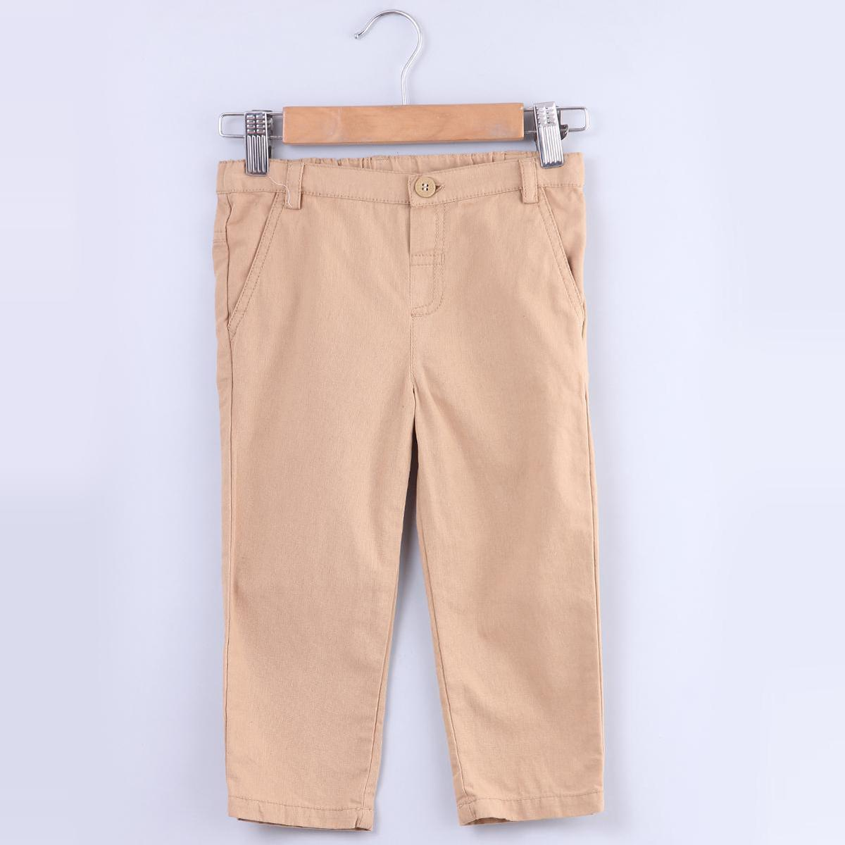 Beebay - Beige Colored Tan Beige Chino Cotton Stretchable Trousers For Kids Boys