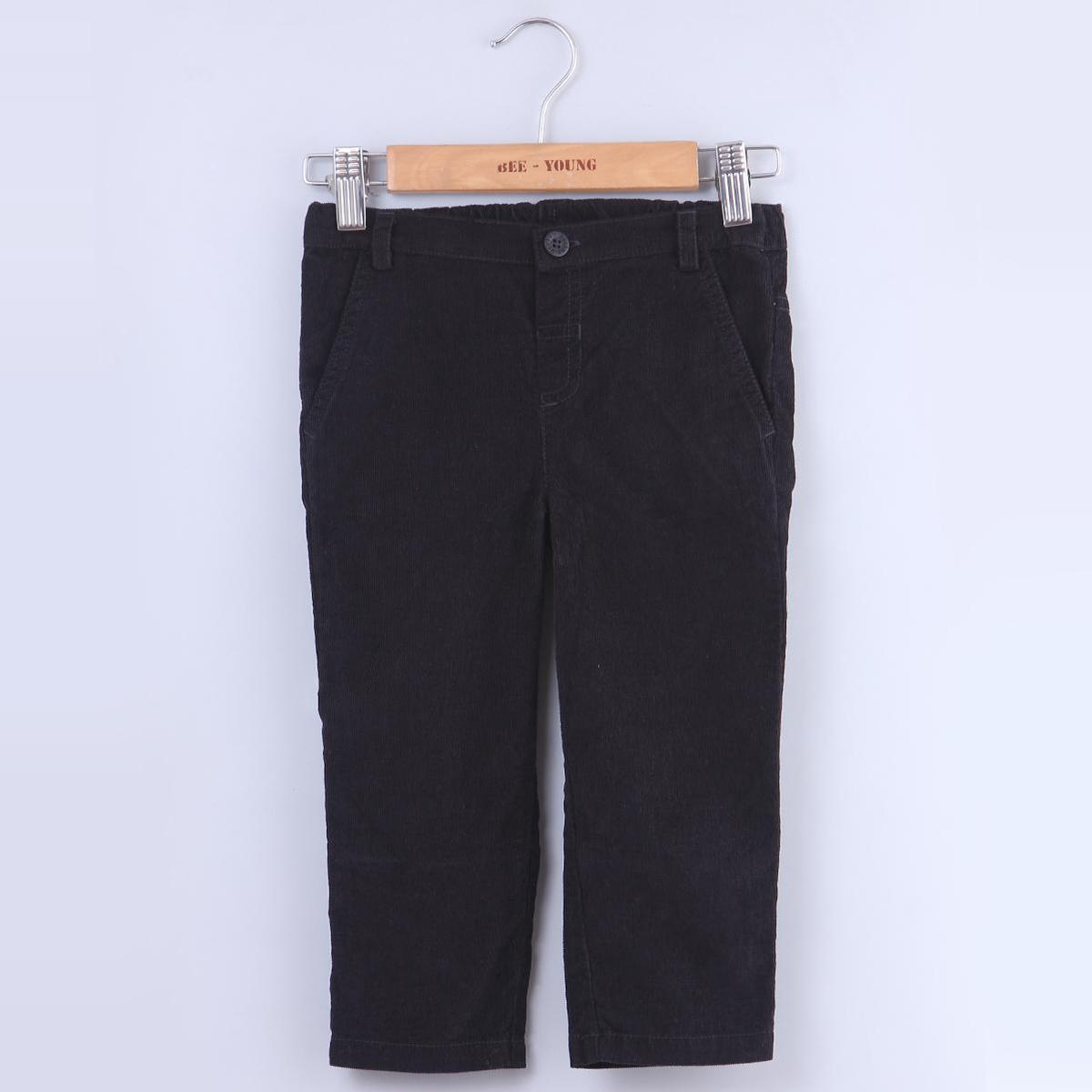 Beebay - Black Colored Jet Black Corduroy Cotton Stretchable Trousers For Kids Boys