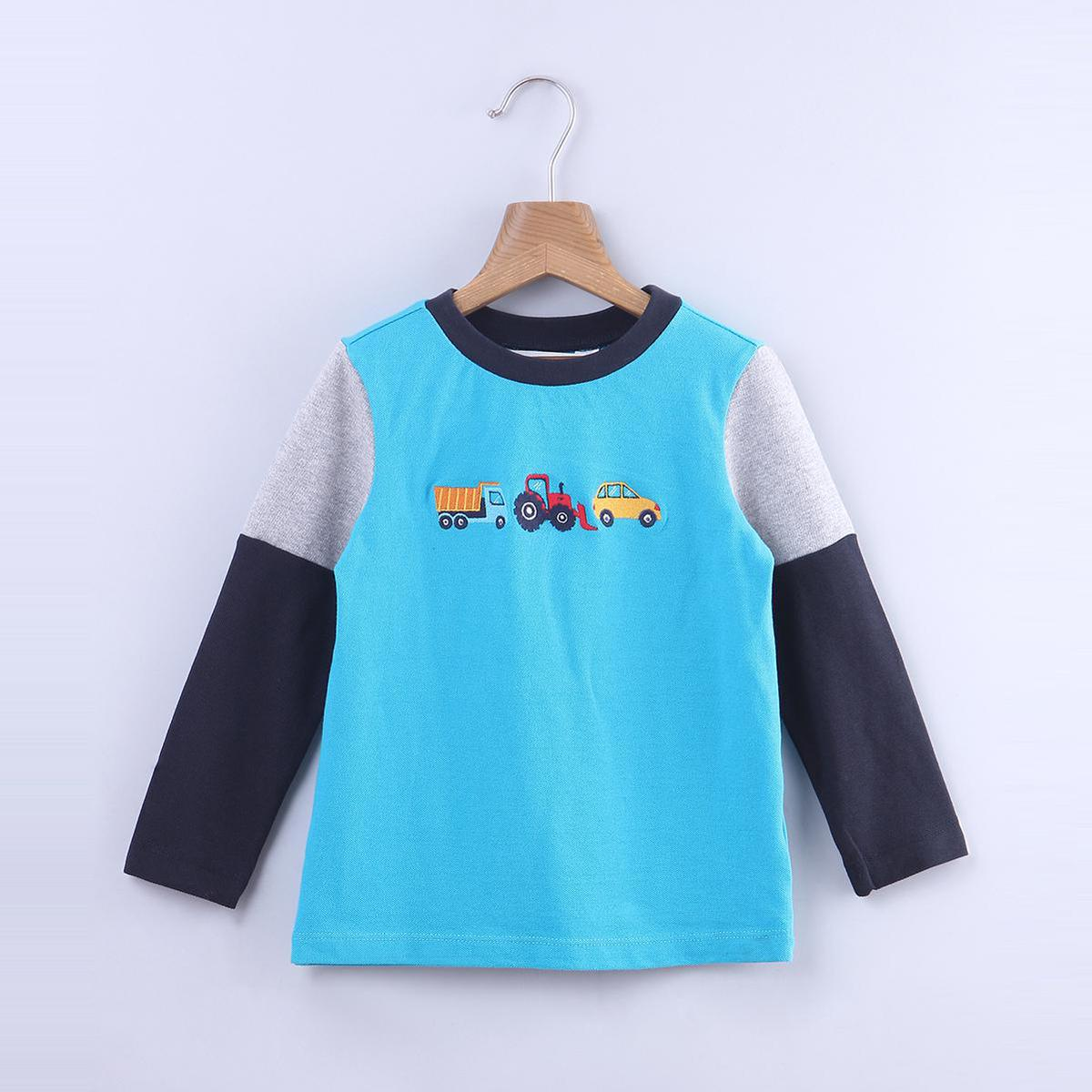 Beebay - Turquoise Blue Colored Truck Embroidery Cotton T-shirts For Kids Boys