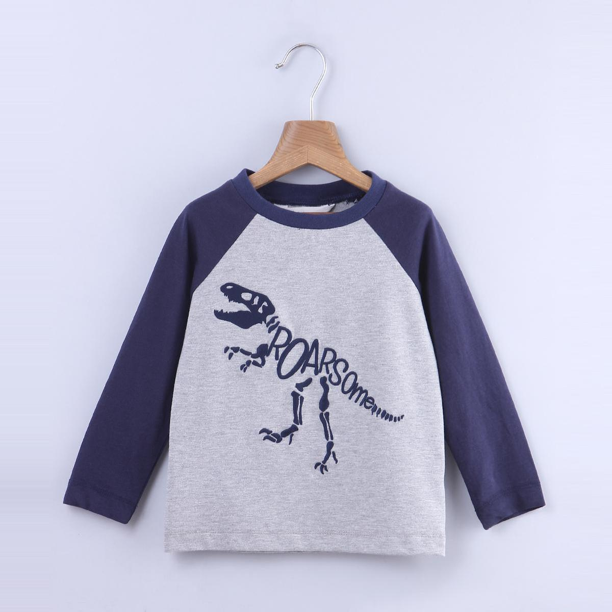 Beebay - Grey Colored Dino Embroidery Raglan Cotton T-shirts For Infants Boys