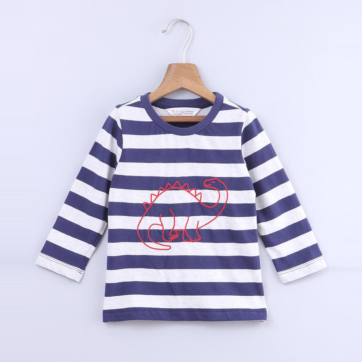Beebay - Navy Blue Colored Dino Embroidery Striper Cotton T-shirts For Infants Boys