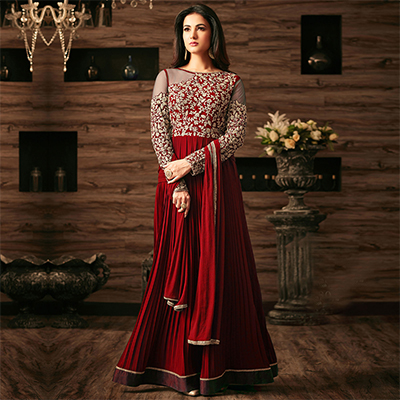 Mesmerising Red Designer Embroidered Anarkali Suit