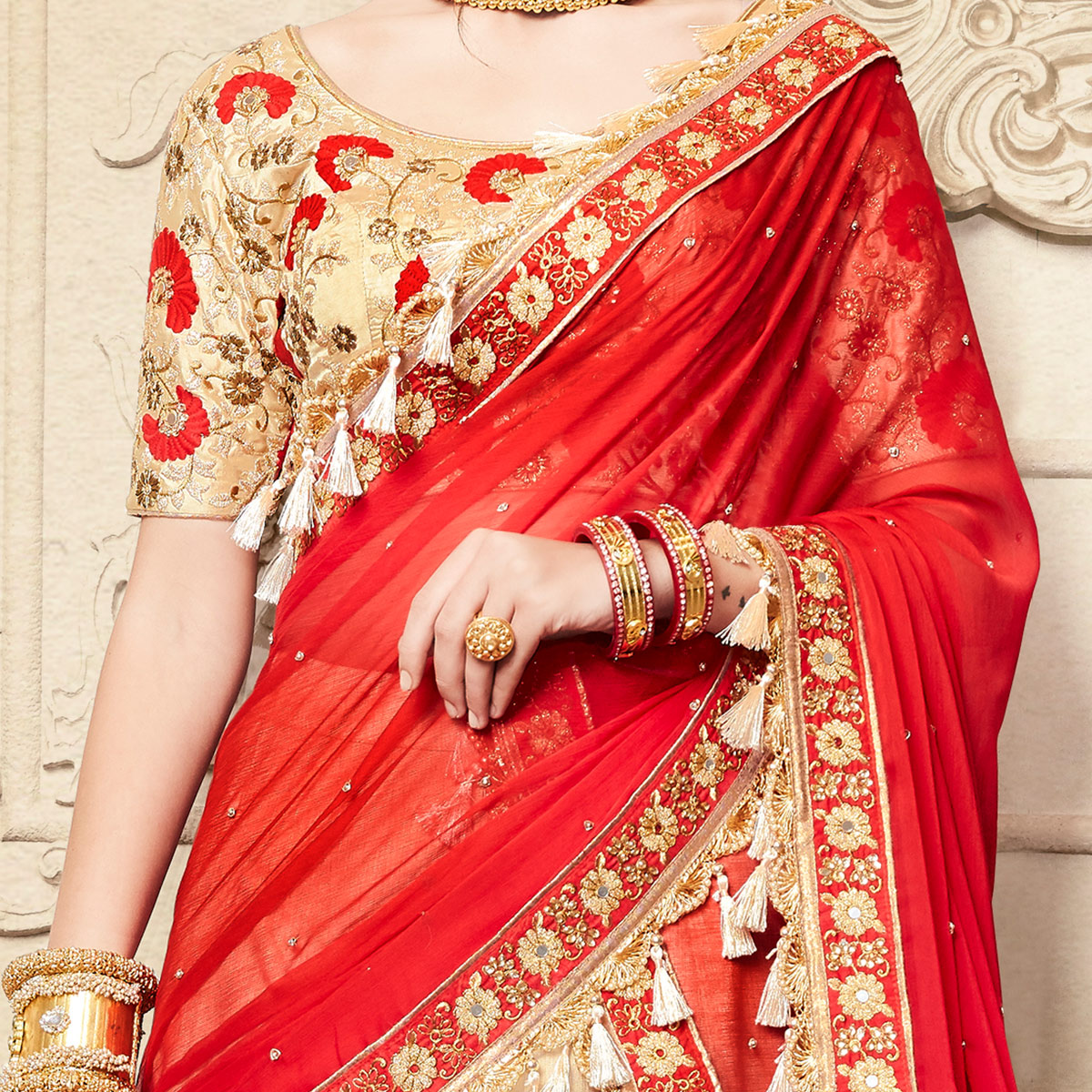 NAKKASHI - Exclusive Beige Colored Party Wear Floral Embroidered Handloom Raw Silk Lehenga Choli