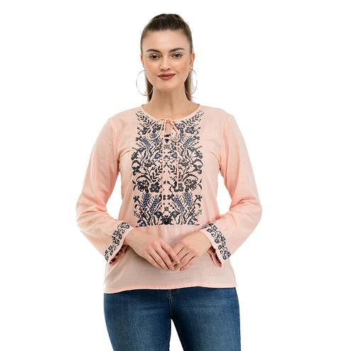 Taaraa - Peach Colored Casual Embroidered Rayon Top