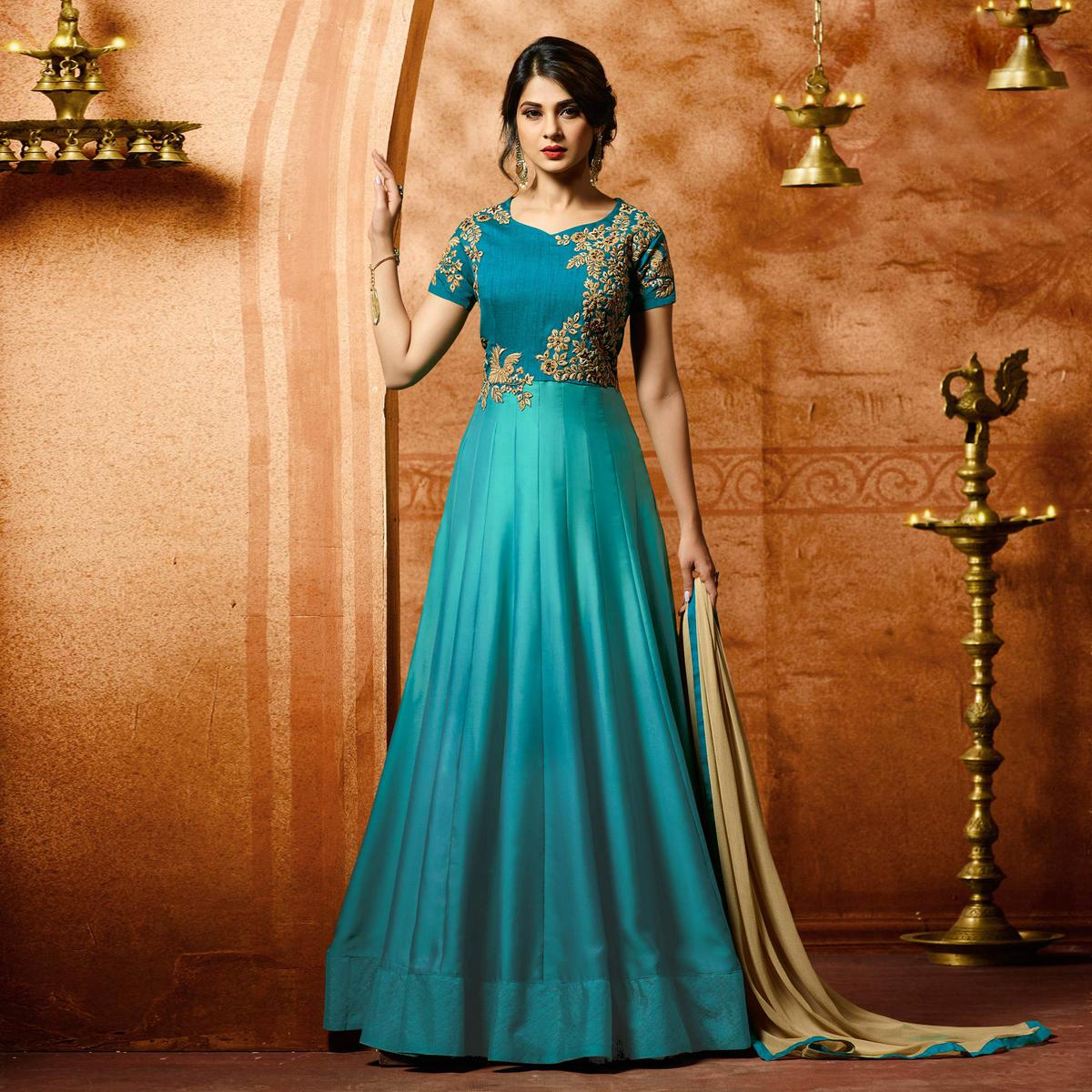 Buy Beautiful Sky Blue Designer Embroidered Banglori Silk Anarkali ...