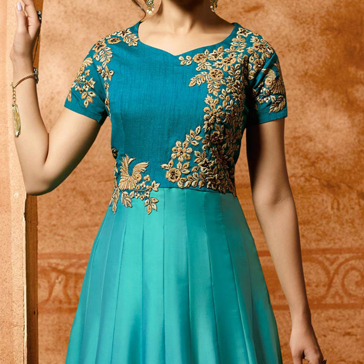 Beautiful Sky Blue Designer Embroidered Banglori Silk Anarkali Suit