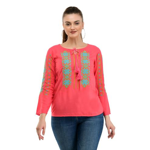 Taaraa - Pink Colored Casual Embroidered Rayon Top