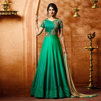 Georgeous Green Designer Embroidered Banglori Silk Anarkali Suit