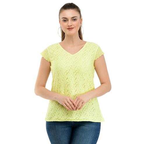 Taaraa - Yellow Colored Casual Embroidered Net Top