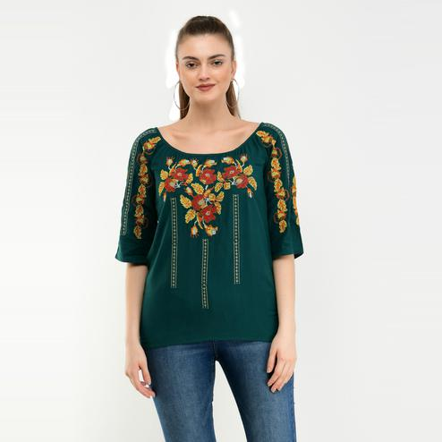 Taaraa - Green Colored Casual Embroidered Rayon Top