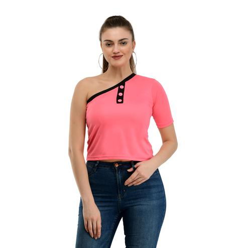 Taaraa - Pink Colored Casual Solid Crepe Top