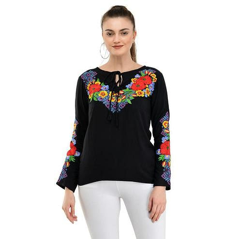 Taaraa - Black Colored Casual Embroidered Rayon Top