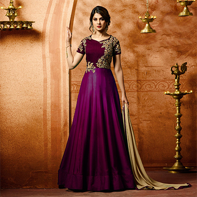 Lovely Purple Designer Embroidered Banglori Silk Anarkali Suit
