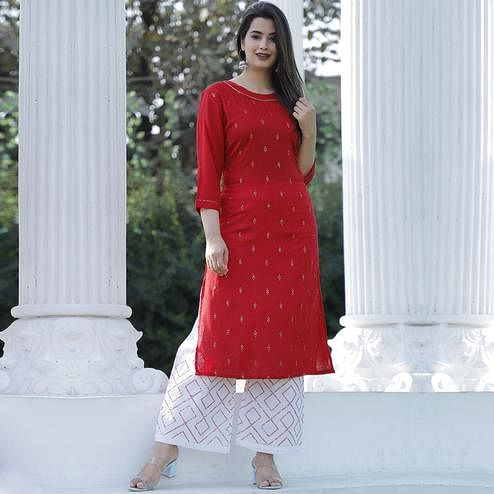 TrendME - Red Colored Casual Embroidered Rayon Kurti Palazzo Set