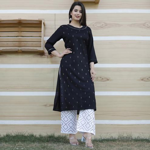TrendME - Black Colored Casual Embroidered Rayon Kurti Palazzo Set