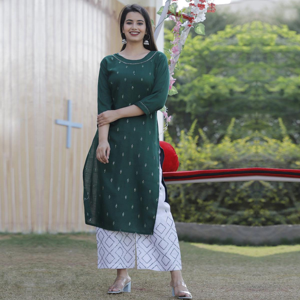 TrendME - Green Colored Casual Embroidered Rayon Kurti Palazzo Set