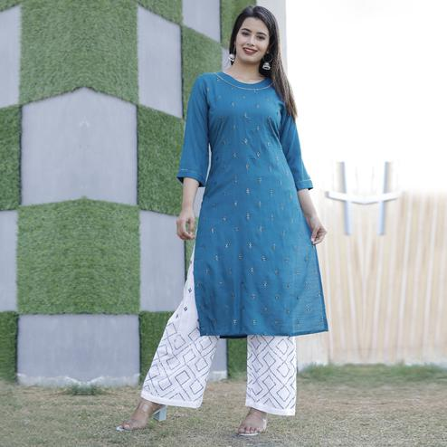TrendME - Blue Colored Casual Embroidered Rayon Kurti Palazzo Set
