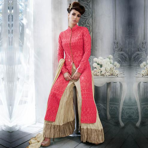 NAKKASHI - Blooming Red Colored Party Wear Embroidered Tussar Silk Palazzo Suit