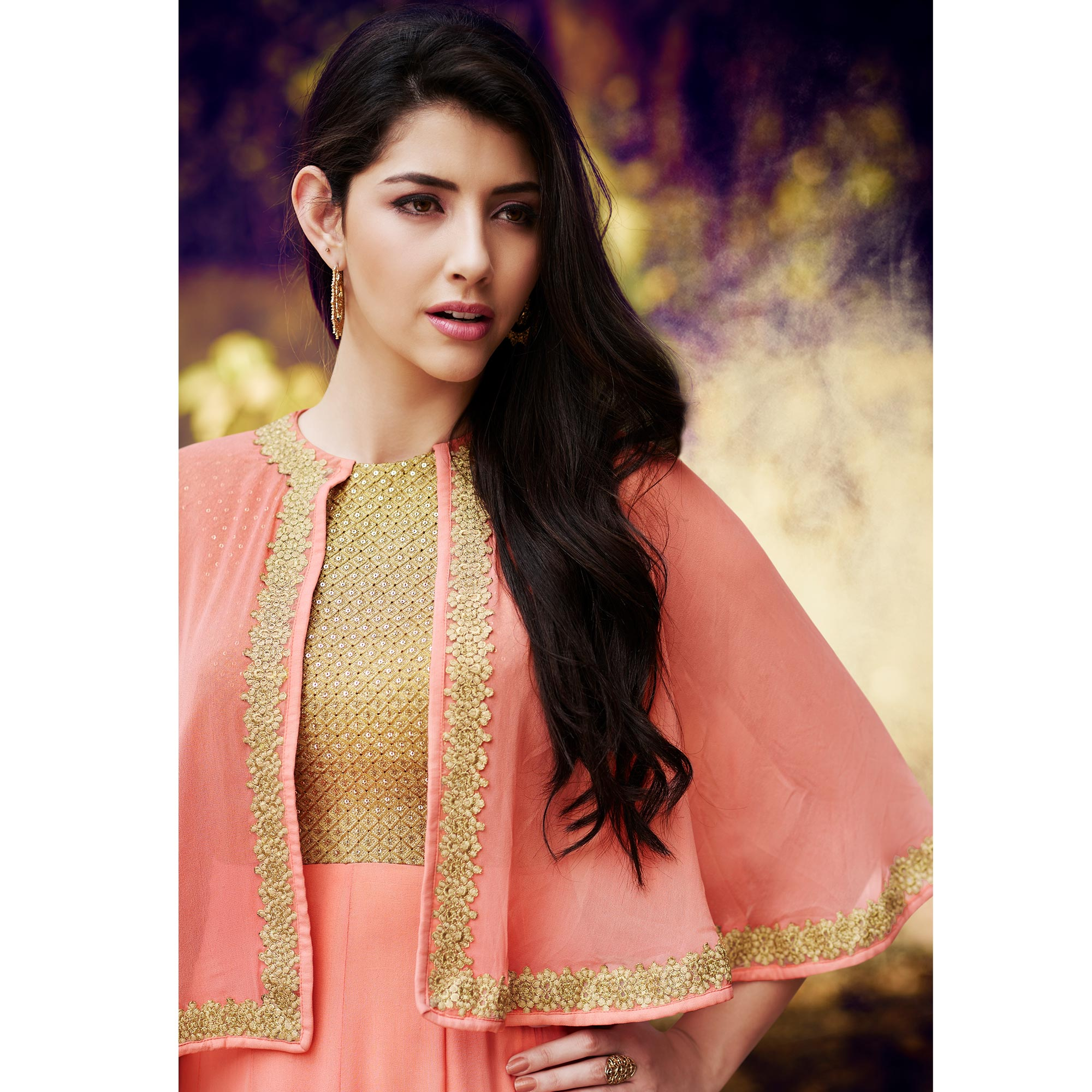NAKKASHI - Refreshing Pink Colored Party Wear Embroidered Georgette Suit