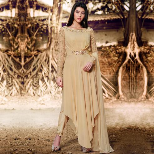 NAKKASHI - Magnetic Beige Colored Party Wear Embroidered Georgette Suit