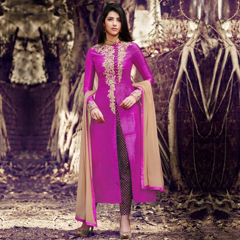 NAKKASHI - Hypnotic Purple Colored Party Wear Embroidered Silk Pant Style Suit