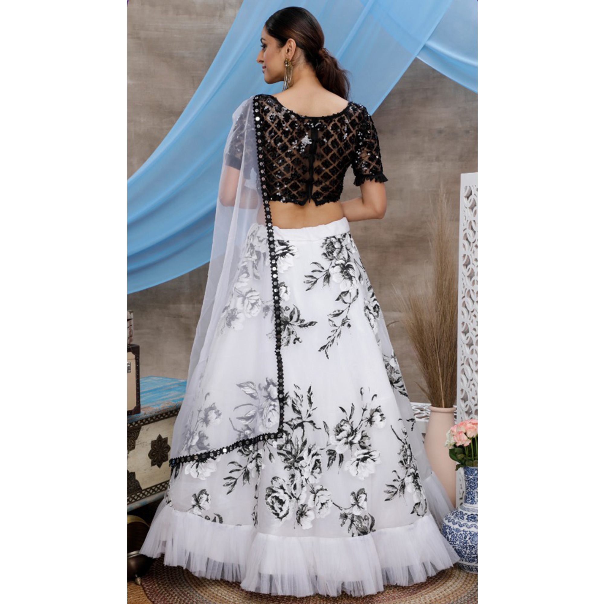 Arresting White-Black Colored Party Wear Embroidered Soft Organza Lehenga Choli