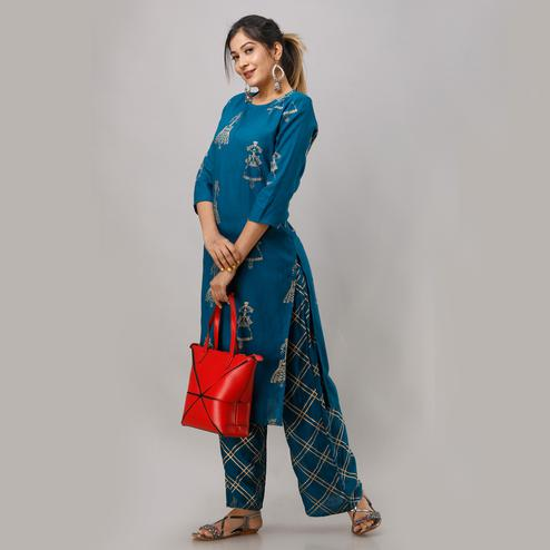 Zyla Intricate Teal Blue Colored Party Wear Foil Printed Straight Calf Length Kurti-Palazzo Set