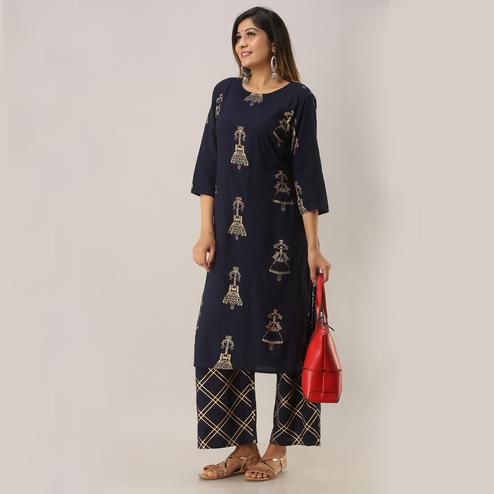 Zyla Arresting Navy Blue Colored Party Wear Foil Printed Straight Calf Length Kurti-Palazzo Set