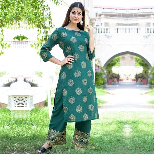 Zyla Desirable Green Colored Party Wear Foil Printed Straight Calf Length Kurti-Palazzo Set