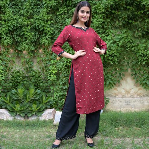 Zyla Trendy Maroon Colored Party Wear Polka Dot Printed Straight Calf Length Kurti-Palazzo Set