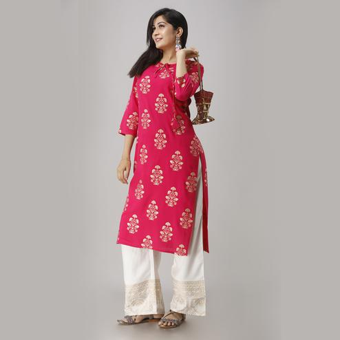 Zyla Elegant Pink Colored Party Wear Foil Printed Straight Calf Length Kurti-Palazzo Set